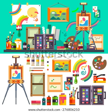 Art studio interior with all tools and materials for painting and creature.  The source of inspiration for the artist. Preparations for exhibition, paint, pictures, brushes Vector flat illustration