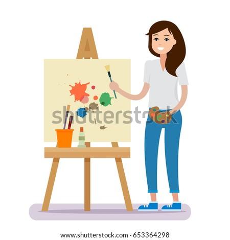 art studio interior woman