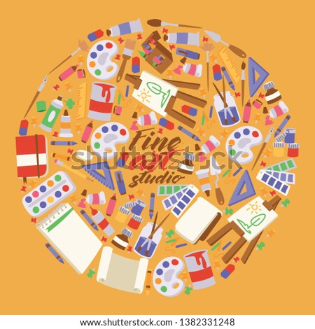 Art studio vector studying in art-schoolwith artist tools watercolor paint brushes palette for color paints artwork backdrop illustration artistic painting background.