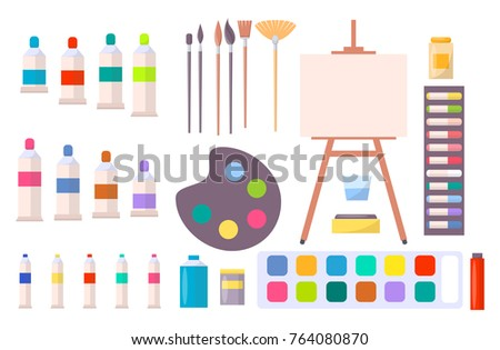 Art supplies vector illustration with icons of easel, different brushes, various paints and other tools and instruments for painting in cartoon style stock photo