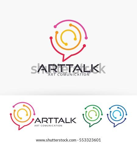 Art Talk, abstract, technology, design, blog, art, studio, network, internet, digital. Vector logo template