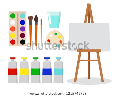 Art tools and materials for painting and creature for artist. Paint tubes, palette, canvas and brush. Flat cartoon style vector illustration.