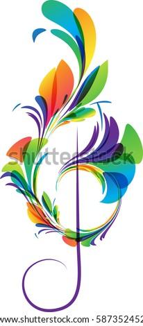 Art treble clef on white background, vector illustration