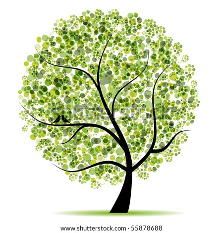 Tree Paintings Images on Spring Tree Green With Birds Green Tree Find Similar Images