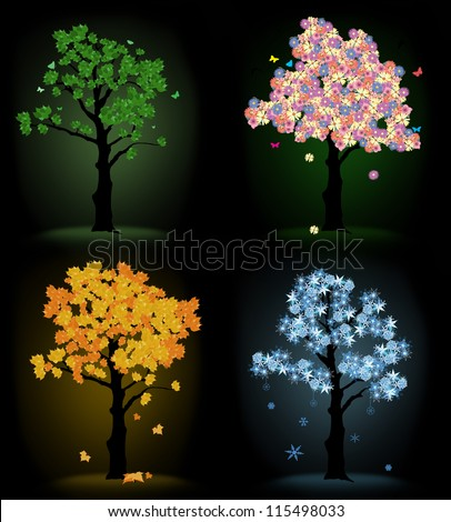 Art tree for your design. Four seasons - spring, summer, autumn, winter on black background