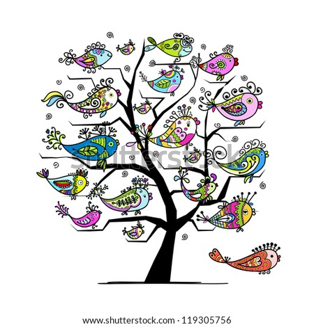 Art tree with funny fishes for your design