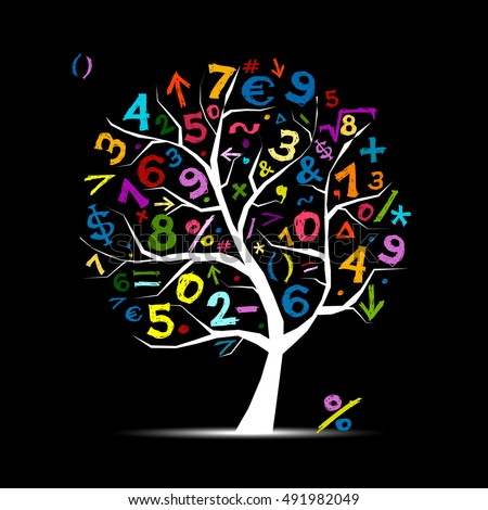 art tree with math symbols for