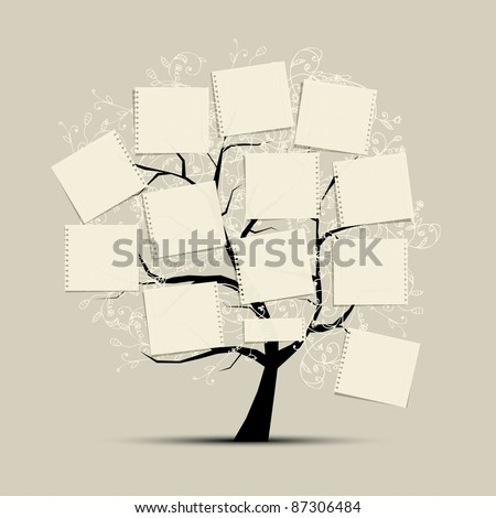 Art tree with papers for your text - stock vector