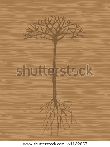 Art tree with roots on wooden background