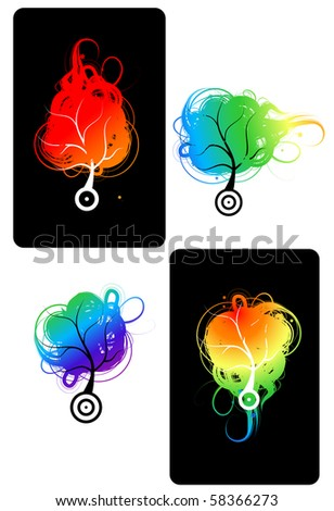 Art trees colorful for your design