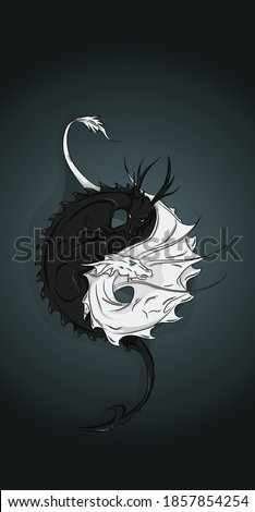 art two dragons black and white