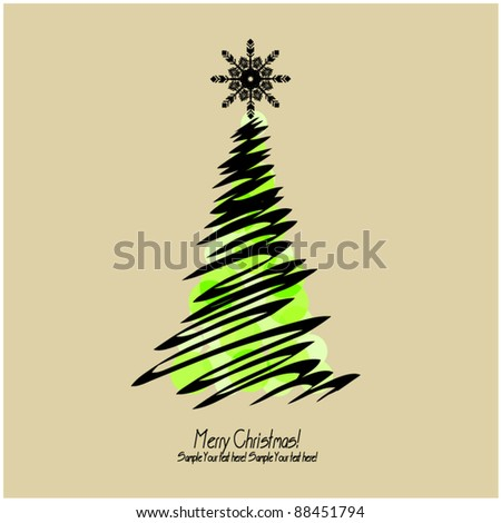 art vector christmas tree, graphic background with space for text