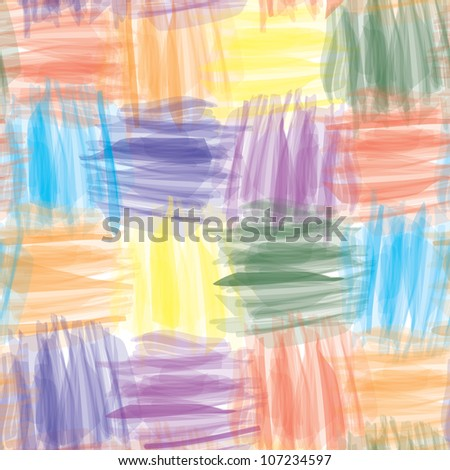Art vector grunge quilt seamless background with rainbow stripes