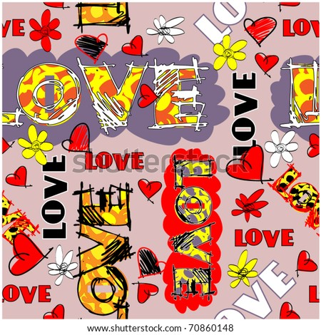 art vintage word pattern vector background for valentine day