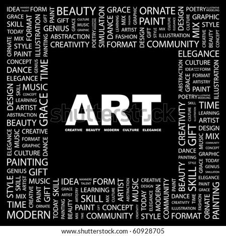 art word collage on black