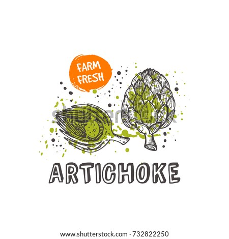 Artichoke isolated set. Hand drawn vector illustration with watercolor splash. Can be used for street festival, farmers market, country fair, shop, menu, cafe, restaurant, poster, banner.