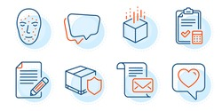 Article, Accounting checklist and Heart signs. Augmented reality, Delivery insurance and Mail letter line icons set. Speech bubble, Face biometrics symbols. Outline icons set. Vector