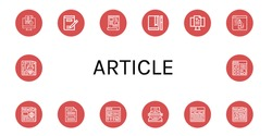 article icon set. Collection of Release, Writing, Script, Journal, Blog, Newspaper, Press, Article, Typewriter, News icons