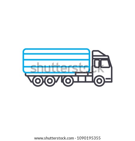 Articulated lorry vector thin line stroke icon. Articulated lorry outline illustration, linear sign, symbol concept.
