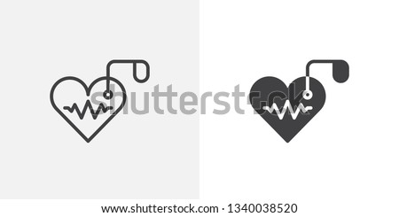 Artificial cardiac pacemaker icon. line and glyph version, outline and filled vector sign. Heart and heartbeat linear and full pictogram. Cardiology symbol logo illustration. Different style icons set