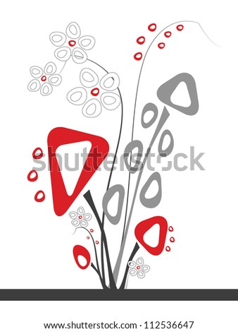 Artificial flower piece Artificial flower piece designed in grey and red colors on the white background