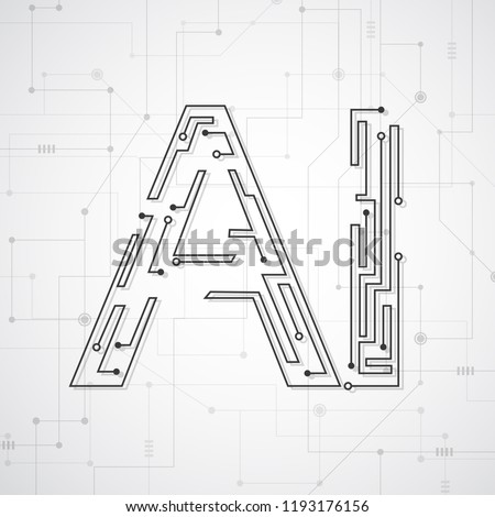 Artificial intelligence. Abstract geometric with circuit board. Technology and engineering concept background. Vector illustration