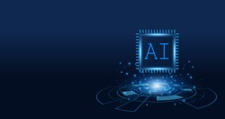 Artificial Intelligence ,AI chipset on circuit board, futuristic Technology Concept