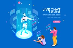 Artificial intelligence, ai for business. Iot concept, mans and women a chat bot dialog. Messenger application, virtual service of robot for social media. Flat Isometric characters vector illustration