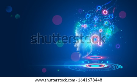 Artificial intelligence. AI head with neural network brain hanging over virtual digital podium. Wise female face in cyberspace. Machine learning. Mind of cyborg or robot in vr reality. Future concept