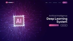 Artificial Intelligence (AI) landing page. Website template for deep learning concept.