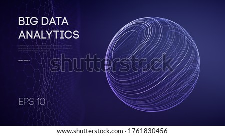 Artificial intelligence analytics. Data technology science concept. Network analysis sphere abstract. Futuristic ai digital cloud. Cyber tech vector illustration machine learning. EPS 10.