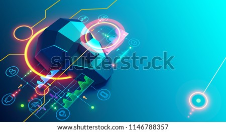 Artificial intelligence analyze business data and optimizes work company. Isometric vector illustration. Banner
