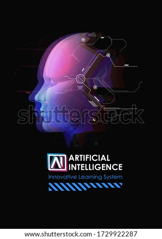 Artificial Intelligence and Big Data, Internet of Things Concept. Intelligence allegory AI. Human face. Machine learning and cyber mind domination.