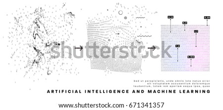 Artificial intelligence and machine learning information technologies infographic vector illustrations. Big data algorithms visualization for business and sceince presentations, posters and covers.