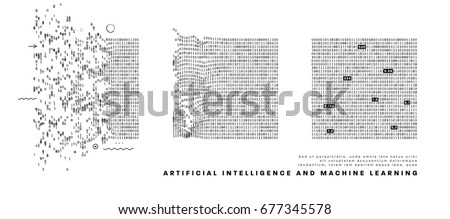 Artificial intelligence and machine learning information technologies infographic vector illustrations. Big data algorithms visualization for business and science presentations, posters and covers.