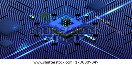 Artificial intelligence and robotic quantum computing processor concept for business technology, engineering and innovations design. Eps10 vector illustration