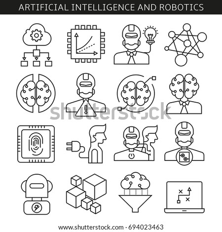 artificial intelligence and robotics icons in line style