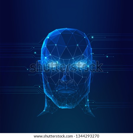 Artificial intelligence, augmented intelligence, robot futuristic face, self aware, concept
