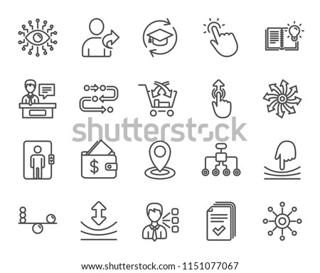 Artificial intelligence, Balance and Refer a friend line icons. Continuing education, Methodology and Exhibitors signs. Swipe up, Elastic and Click here symbols. Wallet with Dollars. Vector