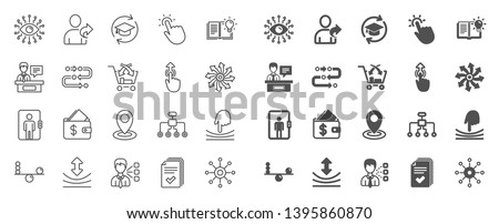 Artificial intelligence, Balance, Refer friend line icons. Continuing education, Methodology and Exhibitors icons. Swipe up, Elastic, Click here, Refer. Cross sell, Third party, Multichannel. Vector