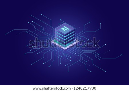 Artificial Intelligence banner, big data, cloud computing, machine learning, information mining concept isometric icon, vector