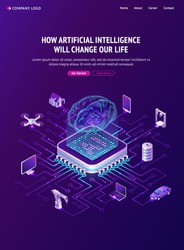 Artificial intelligence banner. Concept of innovation technologies in life. Vector isometric illustration of network, circuit connection of chip with hologram brain and computer, house and car