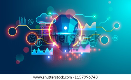 Artificial Intelligence banner. Cyber Head with ai technology doodle. Robotic computer Intellect brainstorming creativity ideas for business.