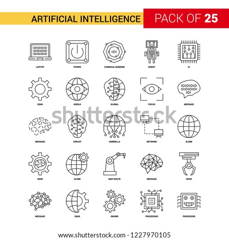 Artificial Intelligence Black Line Icon - 25 Business Outline Icon Set
