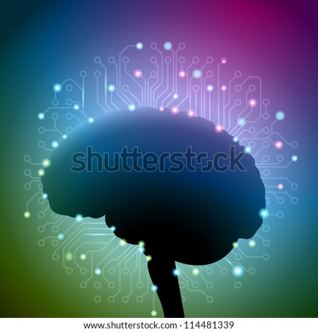 Artificial intelligence, brain with circuit board background, eps10 vector