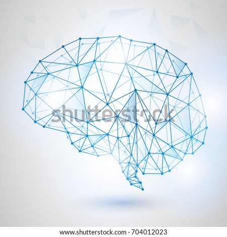 Artificial intelligence concept. Dot circuit board brain logo icon, high tech style, Technology Low Poly Design of Human Brain with Binary Digits. Symbol of Wisdom point