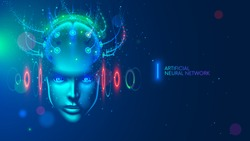 Artificial intelligence concept illustration. Head, face with cybernetic digital brain, neural network link to virtual interface. Futuristic cyberpunk mind. computer, Machine learning cyber system.