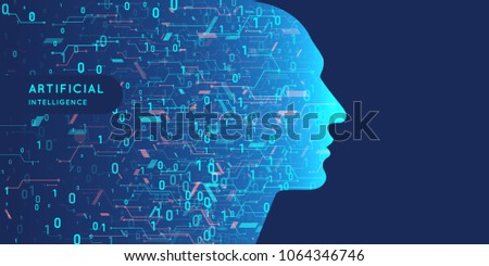 Artificial intelligence. Conceptual illustration on the theme of digital technologies, the image of the human head. Vector graphics