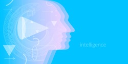Artificial intelligence. Conceptual image of the human head. Vector graphics