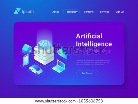 Artificial Intelligence digital Brain future technology isometric flat concept vector design. Laptop Electric Car Smartphone Brain House objects of AI.